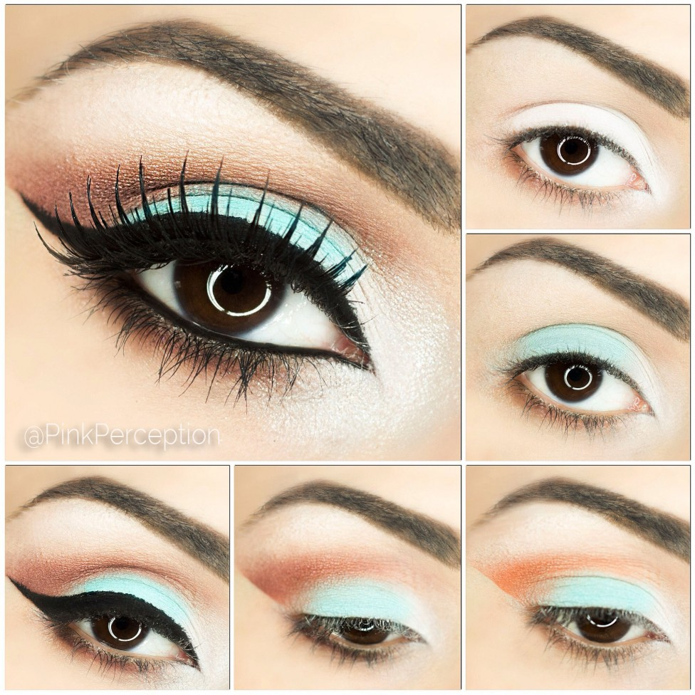 Coral And Mint Eyeshadow Step By Tutorial